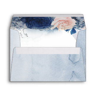 Blush and Navy Blue Romantic Modern Watercolor Envelope