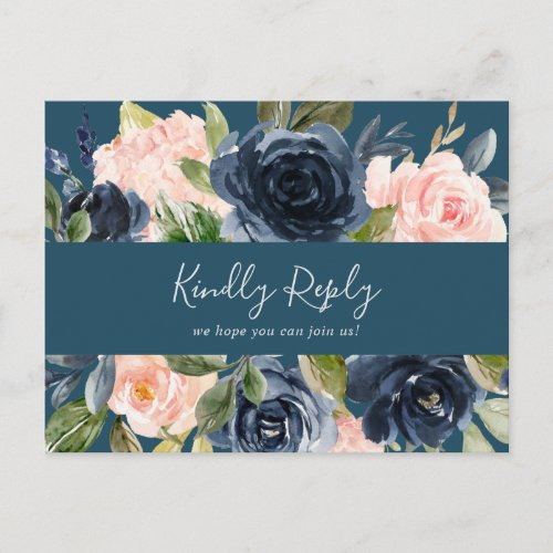 Blush and Navy Blue Song Request RSVP Postcard