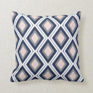Blush And Navy Diamond Ikat Pattern Throw Pillow at Zazzle