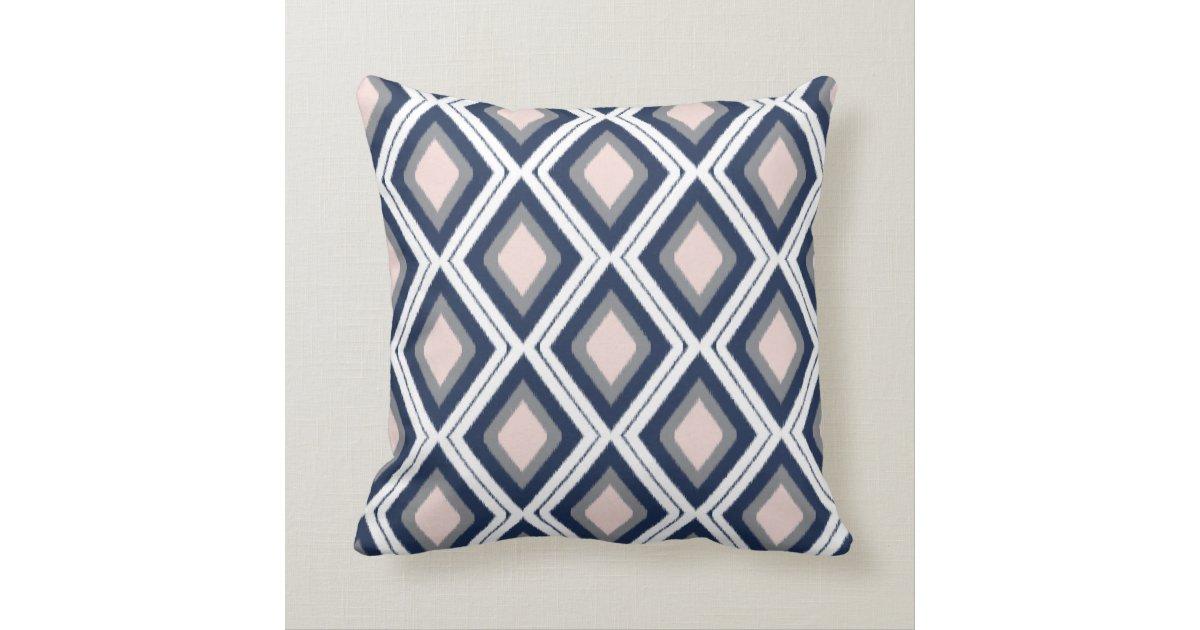 Ikat Design Throw Pillows : Blush and Navy Diamond Ikat Pattern Throw Pillow Zazzle