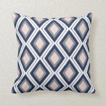 Blush and Navy Diamond Ikat Pattern Throw Pillow