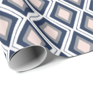 Blush and Navy Diamond Ikat Pattern Wrapping Paper