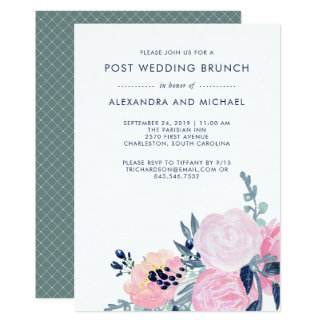 Blush and Navy Floral | Post Wedding Brunch Card