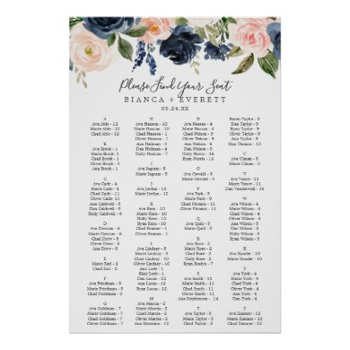 Blush and Navy Flowers Alphabetical Seating Chart