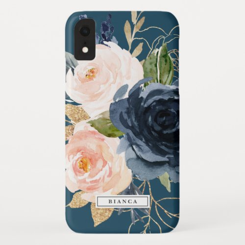 Blush and Navy Flowers | Blue Personalized Name Phone Case