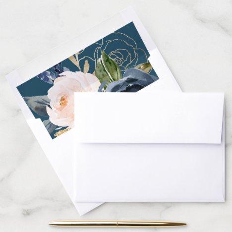 Blush and Navy Flowers | Blue Wedding Envelope Liner