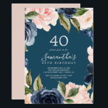 """Blush and Navy Flowers Blue Wreath 40th Birthday Invitation<br><div class=""""desc"""">This blush and navy flowers blue wreath 40th birthday invitation is perfect for a floral birthday party. The classic and elegant design features modern watercolor navy blue and blush pink flowers on a teal blue background.</div>"""