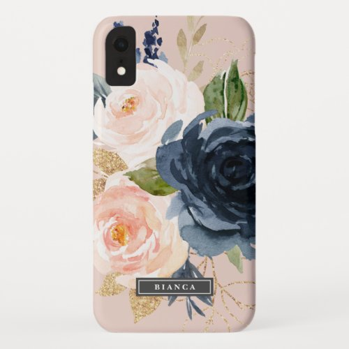 Blush and Navy Flowers | Pink Personalized Name Phone Case