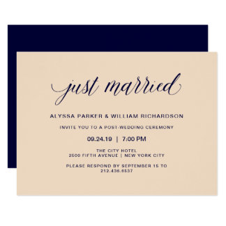 Blush and Navy Typography Just Married Celebration Card