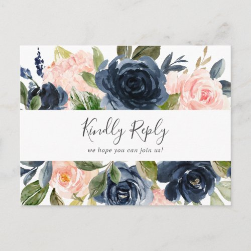 Blush and Navy | White Song Request RSVP Postcard