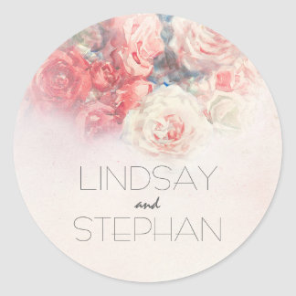 Blush and Pink Roses Watercolor Wedding Classic Round Sticker