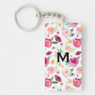 Blush and Pink Watercolor Peonies Pattern Monogram Keychain