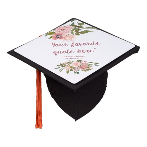 Blush and Rose Gold Floral personalized Graduation Cap Topper
