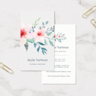 Blush and Sage Floral | Vertical Business Card
