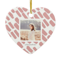 Blush and White Brush Strokes with Photo and Name Ceramic Ornament