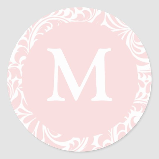 Blush And White Monogram M Wedding Favor Stickers