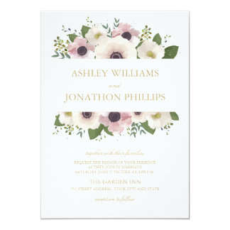 Blush Anemone Bouquet Wedding Invitation