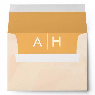 Blush Apricot Wedding Invitation Envelope