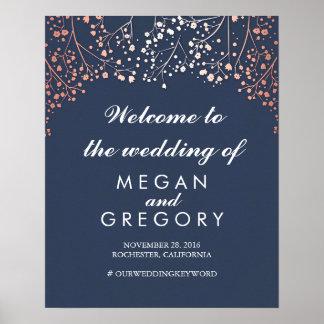 Blush Baby's Breath Navy Wedding Welcome Sign
