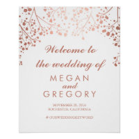 Blush Baby's Breath Wedding Welcome Sign
