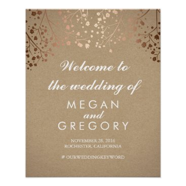 Toddler & Baby themed Blush Baby's Breath Wedding Welcome Sign Coral