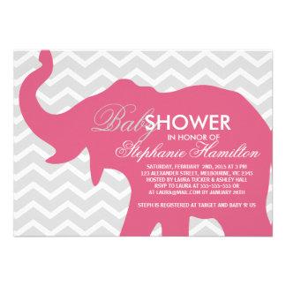 Blush big elephant baby shower invitation
