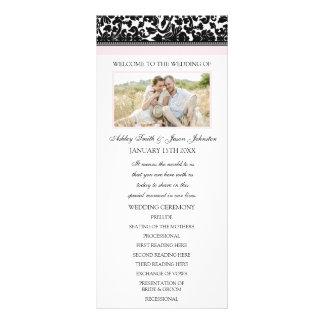 Blush Black Damask Photo Wedding Program