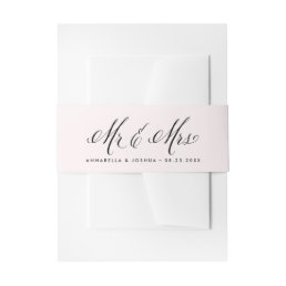 Blush & Black Mr. & Mrs. Elegant Script Wedding Invitation Belly Band