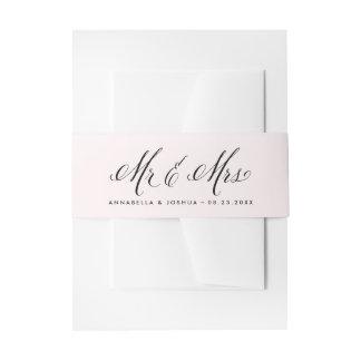 Blush & Black Mr. & Mrs. Elegant Script Wedding Invitation Belly Band