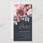 BLUSH BLACK RED ROSE FLORAL BRIDAL SHOWER INVITE
