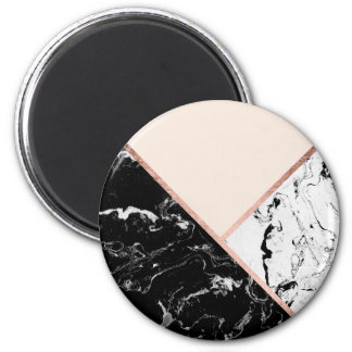Blush black white marble rose gold color block magnet