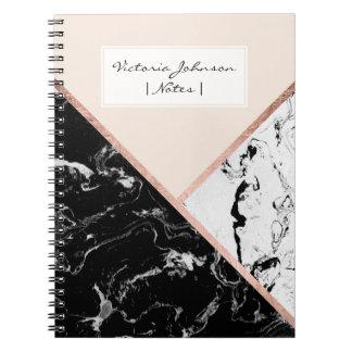 Blush black white marble rose gold color block notebook