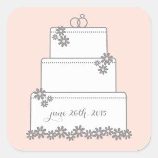 Blush Blooms Wedding Cake Favor Stickers