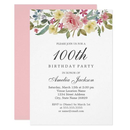 blush botanical watercolor 100th birthday party invitation zazzle com