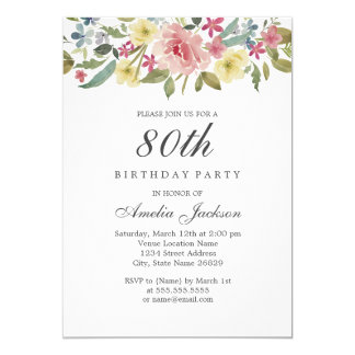 Blush Botanical Watercolor 80th Birthday Party Card