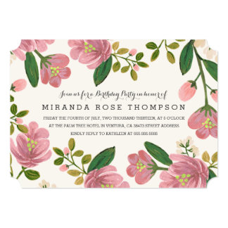 Blush Bouquet Birthday Party 5x7 Paper Invitation Card