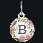 "Blush Bouquet Pet Tag<br><div class=""desc"">Hand painted pink floral pattern designed by Shelby Allison.</div>"