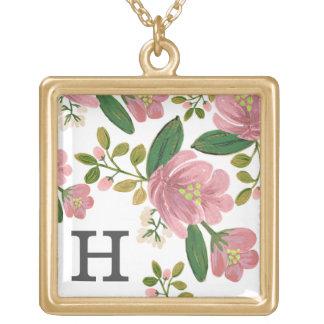 Blush Bouquet Square Pendant Necklace