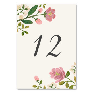 Blush Bouquet Table Number Table Cards