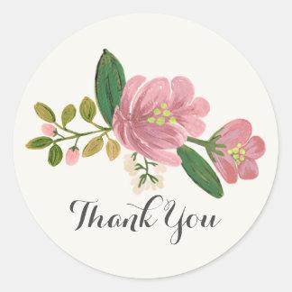 Blush Bouquet Wedding Classic Round Sticker