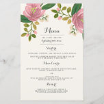"""Blush Bouquet Wedding Dinner Menu<br><div class=""""desc"""">Hand painted peach floral design by Shelby Allison. Perfect for a rustic spring time wedding! For matching invitations,  reply cards,  stickers and other items click on the link below to view the entire Blush Bouquet Collection.</div>"""