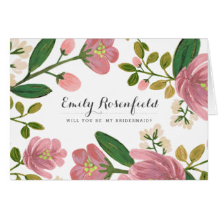 Blush Bouquet Wedding Party Card at Zazzle