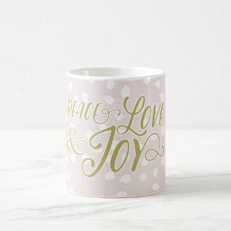 Blush & Bronze Peace Love Joy | Holiday Mug