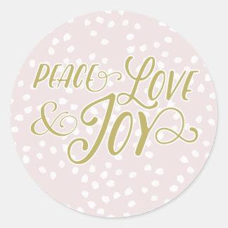 Blush & Bronze Peace Love Joy   Holiday Stickers