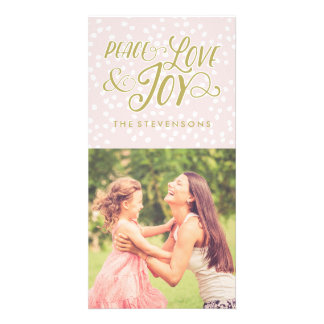 Blush & Bronze Peace Love Joy | Photo Card