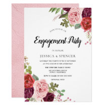 Blush & Burgundy Floral Engagement Party Invite