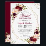 """Blush Burgundy Floral Gold Frame Bridal Shower Card<br><div class=""""desc"""">Blush Burgundy Floral Gold Frame Bridal Shower Invitation. (1) For further customization, please click the &quot;customize further&quot; link and use our design tool to modify this template. (2) If you prefer Thicker papers / Matte Finish, you may consider to choose the Matte Paper Type. (3) If you need help or...</div>"""