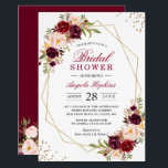 "Blush Burgundy Floral Gold Frame Bridal Shower Invitation<br><div class=""desc"">Blush Burgundy Floral Gold Frame Bridal Shower Invitation. (1) For further customization, please click the &quot;customize further&quot; link and use our design tool to modify this template. (2) If you prefer Thicker papers / Matte Finish, you may consider to choose the Matte Paper Type. (3) If you need help or...</div>"