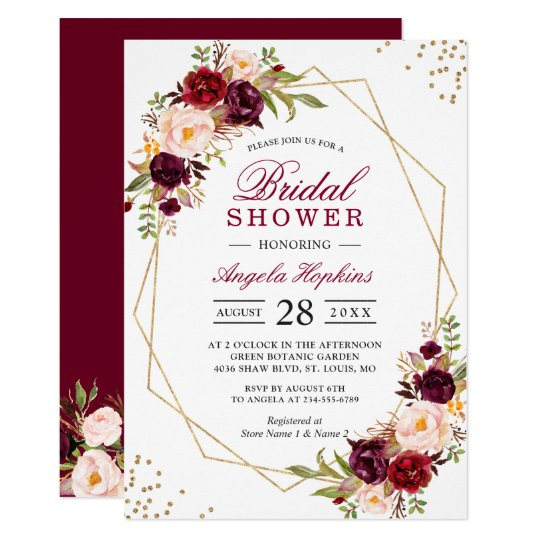 blush burgundy floral gold frame bridal shower invitation