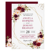 Blush Burgundy Floral Modern Gold Frame Wedding Card